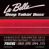 Струны для бас-гитары La Bella 760G Gold White Nylon (USA), 60-115